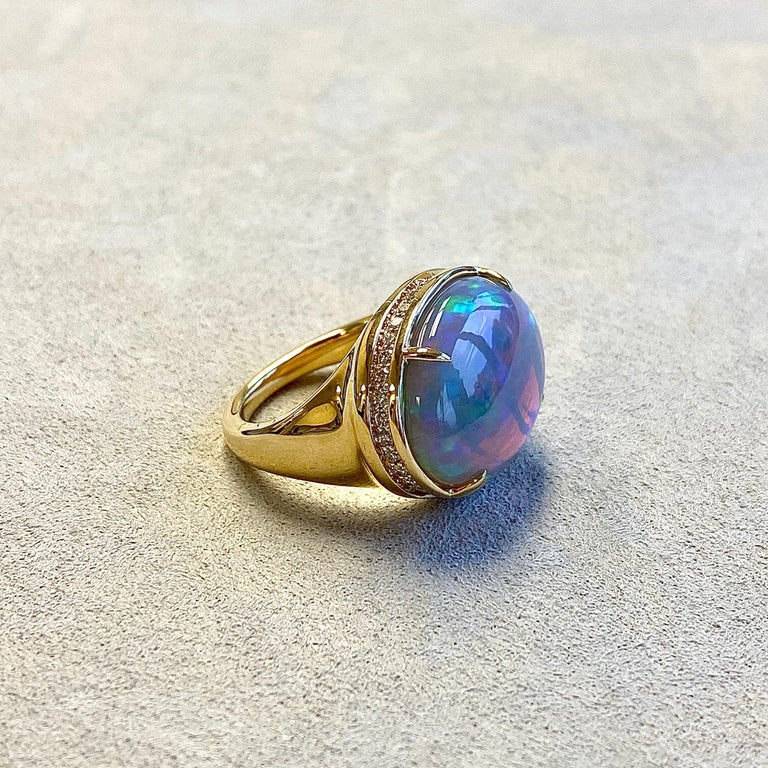 Created in 18 karat yellow gold Ethiopian Opal 9.75 cts approx Champagne diamonds 0.45 ct approx Ring size US 7, can be sized One of a kind  About the Designers ~ Dharmesh & Namrata  Drawing inspiration from little things, Dharmesh & Namrata Kothari