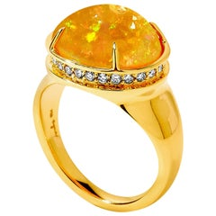 Syna Ethiopian Opal Yellow Gold Ring with Champagne Diamonds