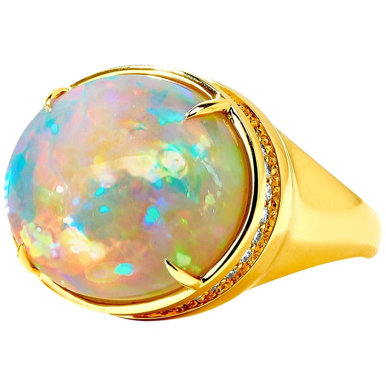 Syna Ethiopian Opal Yellow Gold Ring with Champagne Diamonds For Sale