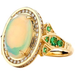 Syna Ethiopian Opal Yellow Gold Ring with Tsavorite and Champagne Diamonds