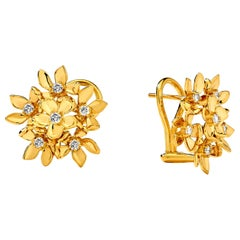 Syna Flower Bunch Earrings with Champagne Diamonds