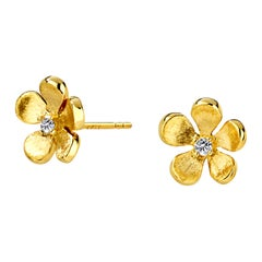 Syna Flower Earrings with Champagne Diamonds