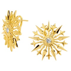 Syna Flower Starburst Earrings with Champagne Diamonds