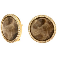 Syna Fossilized Coral Yellow Gold Earrings with Champagne Diamonds