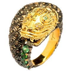 Syna Gold Oxidized Silver Snake Ring with Tsavorite and Champagne Diamonds