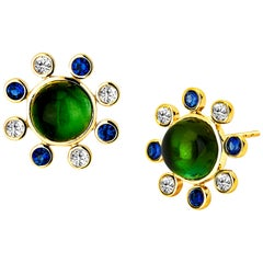 Syna Green Tourmaline Yellow Gold Earrings with Blue Sapphire Champagne Diamonds