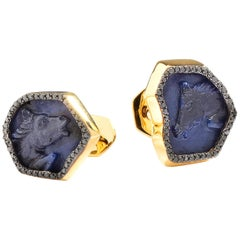 Syna Hand Carved Blue Sapphire Horse Yellow Gold Cuff Links with Black Diamonds