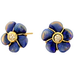 Syna Handcarved Opal Flower Earrings with Diamonds