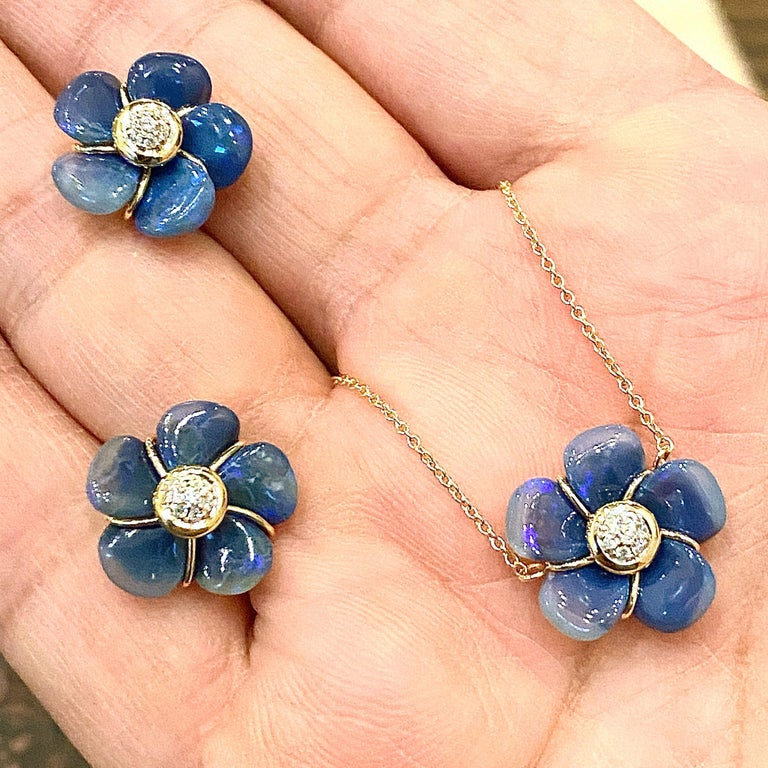 Mixed Cut Syna Handcarved Opal Flower Necklace with Diamonds