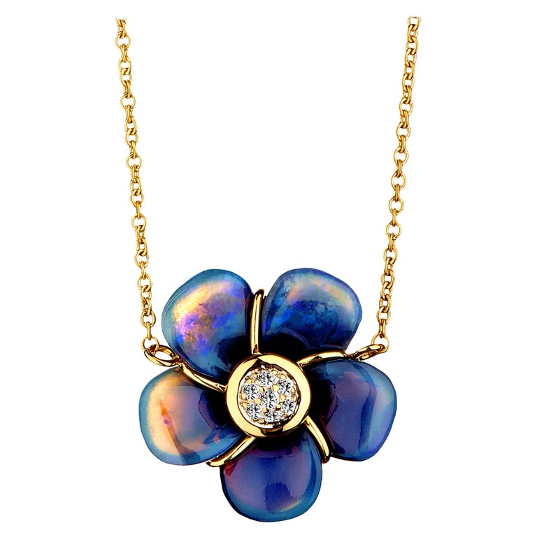 Syna Handcarved Opal Flower Necklace with Diamonds