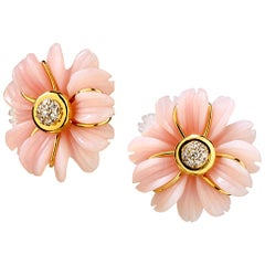 Syna Handcarved Pink Opal Flower Earrings with Diamonds