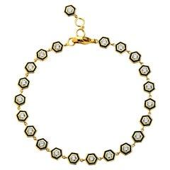 Syna Hexagon Enamel Bracelet with Champagne Diamonds