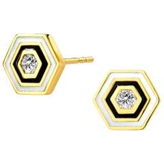 Syna Hexagon Enamel Studs with Champagne Diamonds