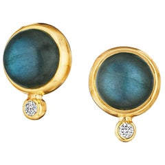 Syna Labradorite Yellow Gold Baubles Earrings with Champagne Diamonds