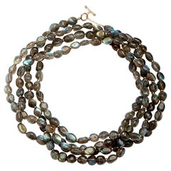 Syna Labradorite Yellow Gold Bead Necklace
