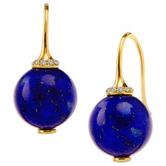 Syna Lapis Lazuli Earrings with Champagne Diamonds