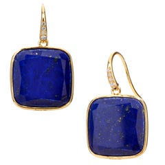 Syna Lapis Lazuli Yellow Gold Earrings with Diamonds