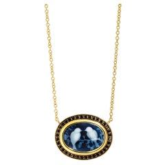 Syna Love Birds Cameo Yellow Gold Necklace with Black Diamonds