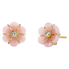 Syna Mini Hand Carved Pink Opal Flower Earrings with Diamonds