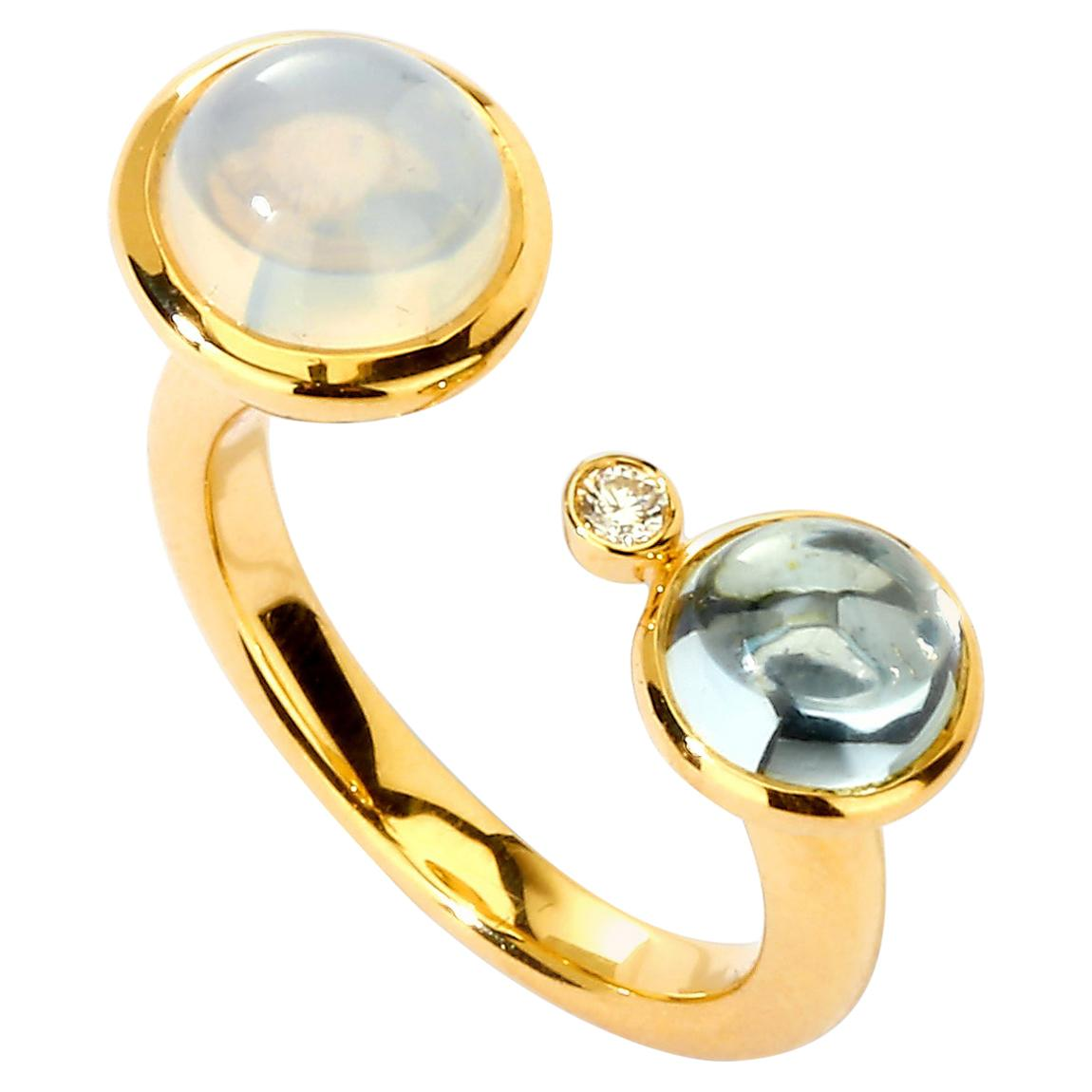 Syna Moon Quartz and Blue Topaz Yellow Gold Ring with Champagne Diamonds