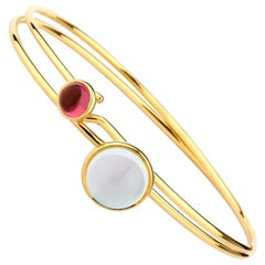 Syna Moon Quartz and Rubellite Yellow Gold Pair of Stacking Bracelets