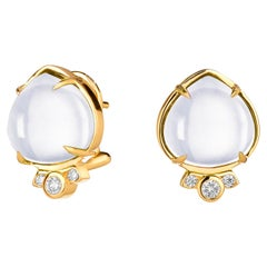 Syna Moon Quartz Earrings with Champagne Diamonds