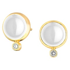 Syna Moon Quartz Yellow Gold Baubles Earrings with Champagne Diamonds