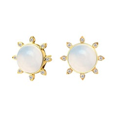Syna Moon Quartz Yellow Gold Earrings with Champagne Diamonds