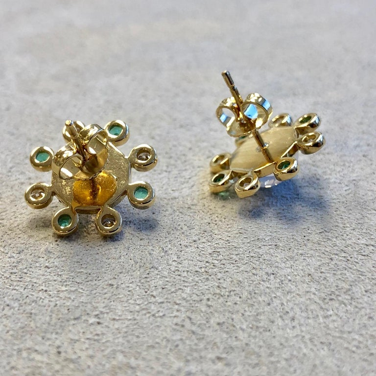 Syna Moon Quartz Yellow Gold Earrings with Emeralds and Champagne Diamonds In New Condition For Sale In Fort Lee, NJ