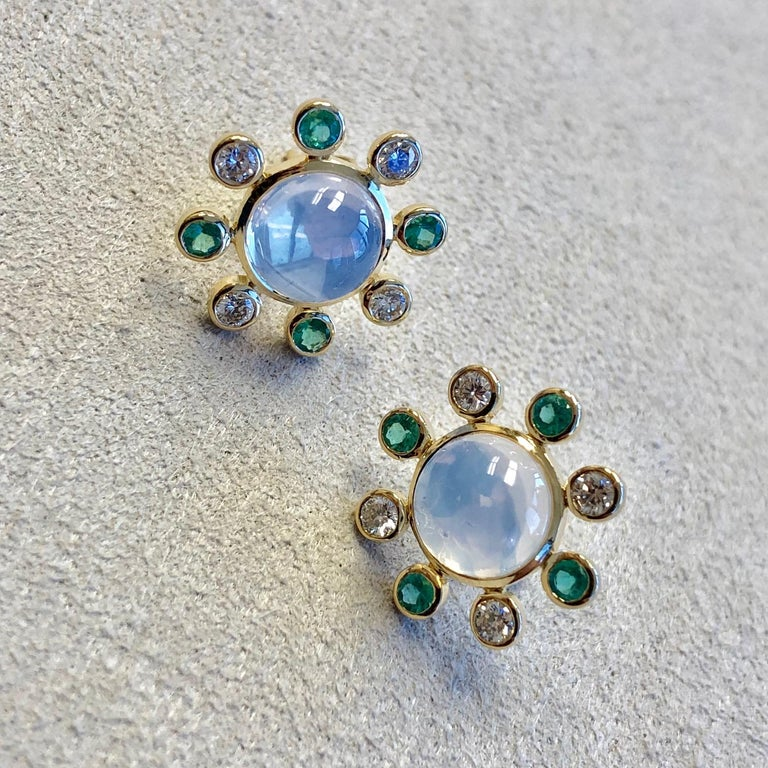 Women's Syna Moon Quartz Yellow Gold Earrings with Emeralds and Champagne Diamonds For Sale
