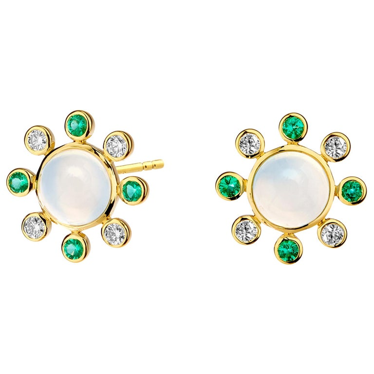 Syna Moon Quartz Yellow Gold Earrings with Emeralds and Champagne Diamonds For Sale