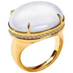 Syna Moon Quartz Yellow Gold Ring with Champagne Diamonds