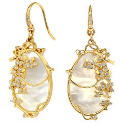 Syna Mother of Pearl Yellow Gold Earrings with Champagne Diamonds