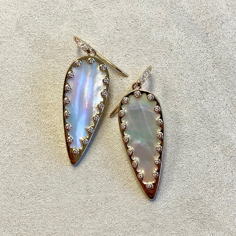 Contemporary Syna Mother of Pearl Yellow Gold Leaf Earrings with Champagne Diamonds For Sale