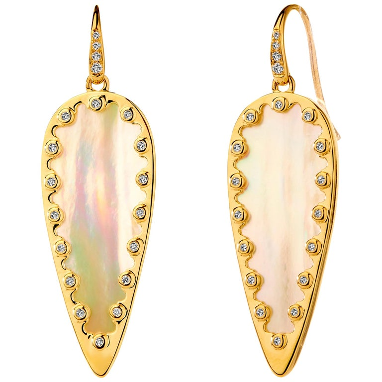 Syna Mother of Pearl Yellow Gold Leaf Earrings with Champagne Diamonds For Sale