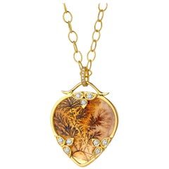 Syna Natural Dendritic Agate Yellow Gold Pendant with Bright Champagne Diamonds