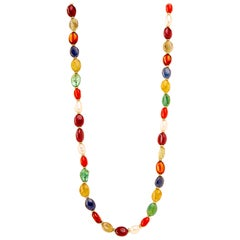 Syna Navratna Yellow Gold Bead Necklace