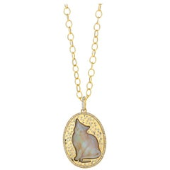 Syna Opal Cat Yellow Gold Pendant with Champagne Diamonds