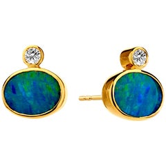 Syna Opal Stud Earrings with Champagne Diamonds