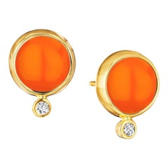 Syna Orange Chalcedony Yellow Gold Baubles Earrings with Champagne Diamonds