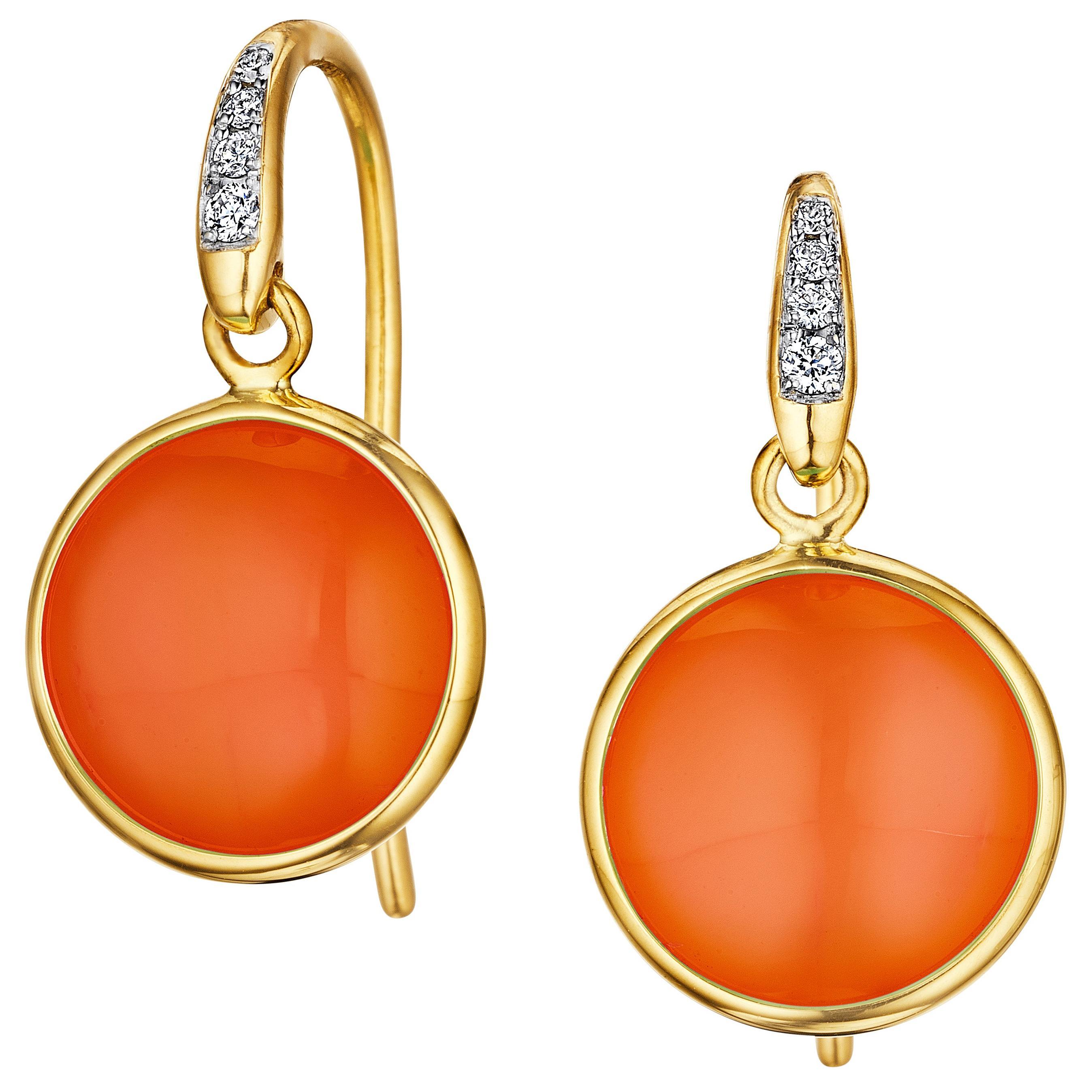 Syna Orange Chalcedony Yellow Gold Earrings with Diamonds