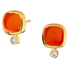 Syna Orange Chalcedony Yellow Gold Sugarloaf Earrings with Champagne Diamonds