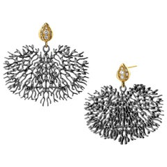 Syna Oxidized Silver and Yellow Gold Coral Reef Earrings with Champagne Diamonds