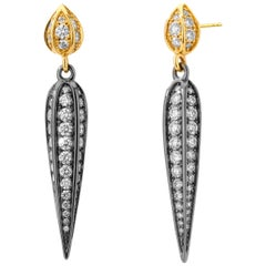 Syna Oxidized Silver and Yellow Gold Earrings with Champagne Diamonds