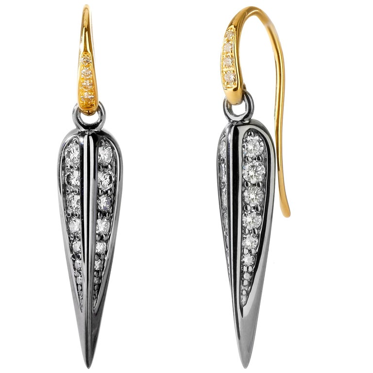 Syna Oxidized Silver and Yellow Gold Earrings with Champagne Diamonds For Sale