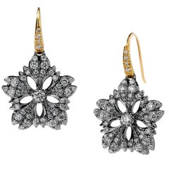 Syna Oxidized Silver and Yellow Gold Flower Earrings with Champagne Diamonds