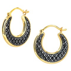 Syna Oxidized Silver and Yellow Gold Mogul Hoop Earrings