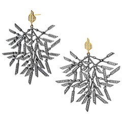 Syna Oxidized Silver Chandelier Earrings with Champagne Diamonds