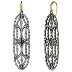 Syna Oxidized Silver Large Mogul Champagne Diamonds Earrings
