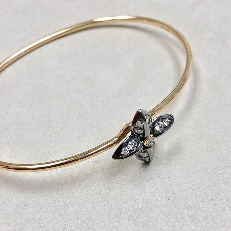 Contemporary Syna Oxidized Silver Yellow Gold Flower Bracelet with Champagne Diamonds For Sale